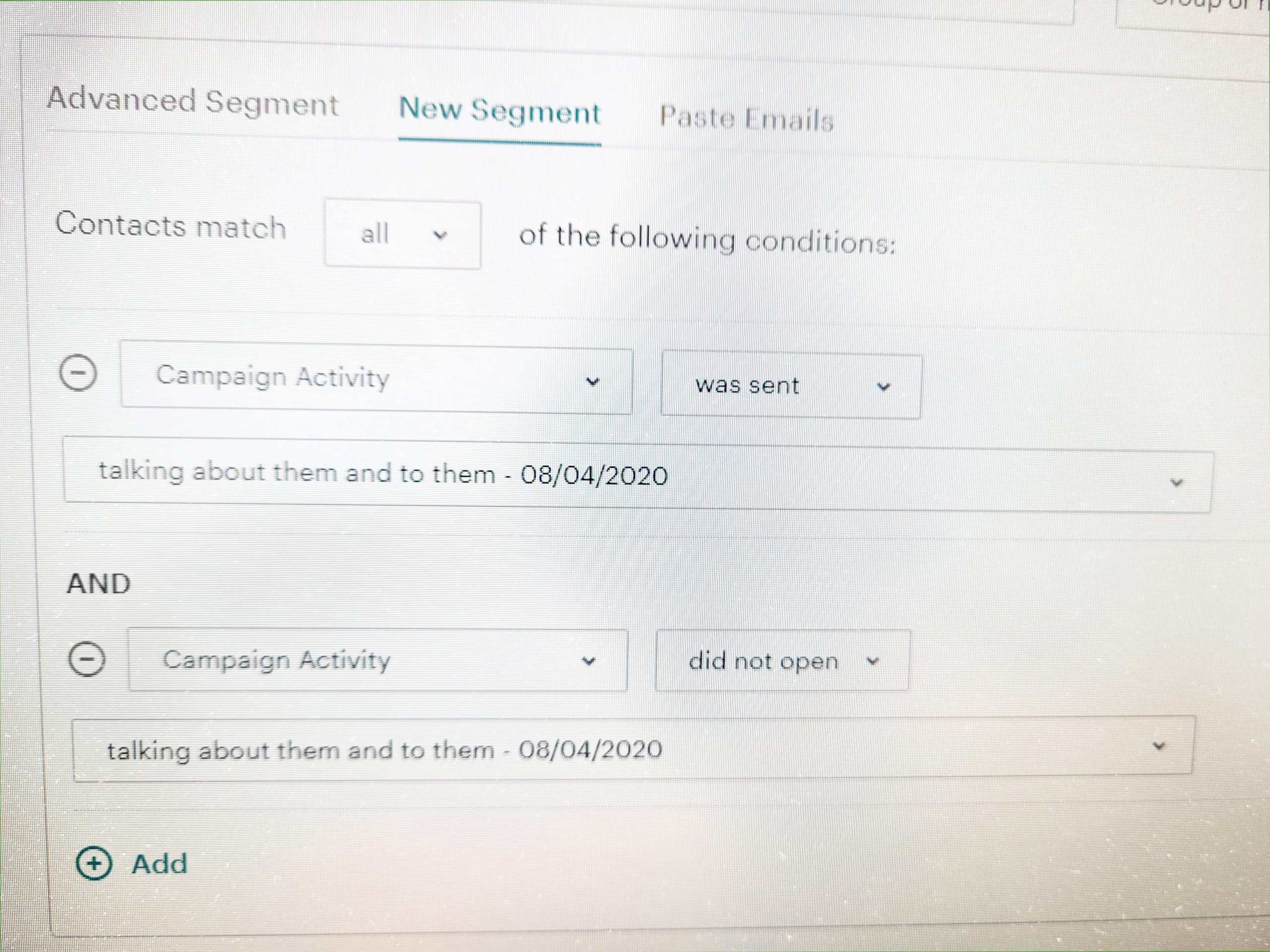 edit your audience for your email campaign