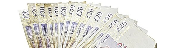 image of multiple £20 notes to illustrate article about marketing budgets