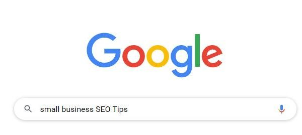 image of google home page with small business seo tips in the search bar